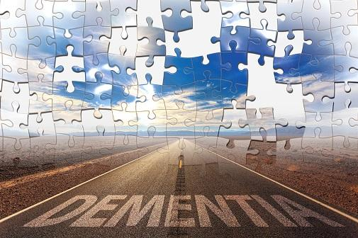 Puzzle illustration with the word dementia